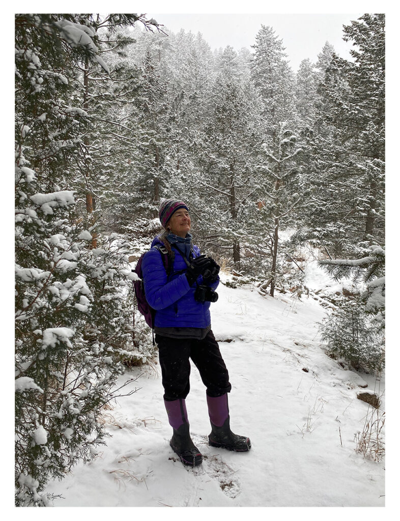 Author hiking on a cold, snowy day